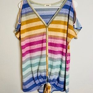 💜First Love- Rainbow Top Button & Front Tie L